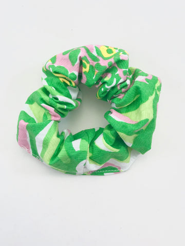 Designer Green, Pink & White Pique - Scrunchie