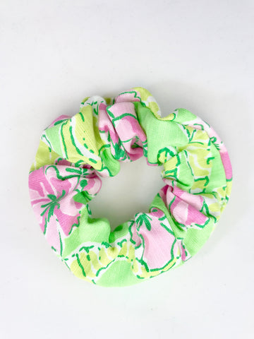Designer Green Seahorses with Pink Flowers - Scrunchie