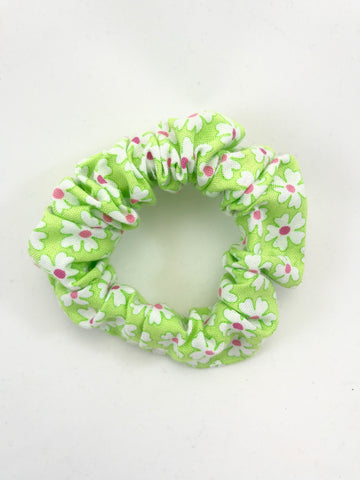 Light Green with White Flowers - Scrunchie