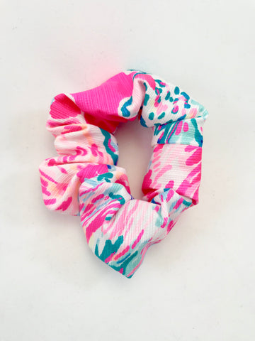 Designer Neon Pink with Dark Turquoise Fish - Scrunchie