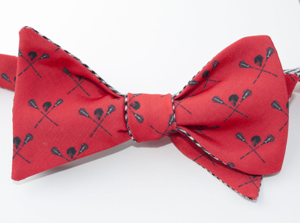 Royal Blue and Red College Stripe Pre-Tied Bow Tie
