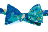 Designer Blue Swirls Bow Tie