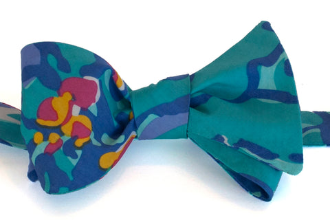 Designer Blue and Turquoise Bow Tie