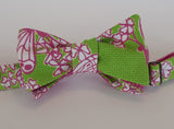 Designer Butterfly Pink and Green Bow Tie
