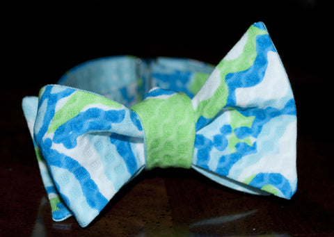 Designer Turquoise and Royal Pique Bow Tie