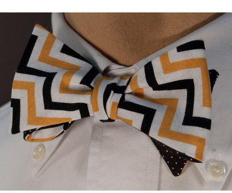 Gold & Black Chevron Bow Tie - Youth