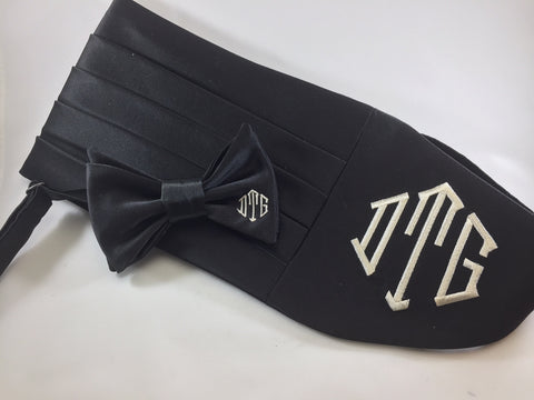 Formal Black with Embroidered Monogram Bow Tie and Cummerbund Set