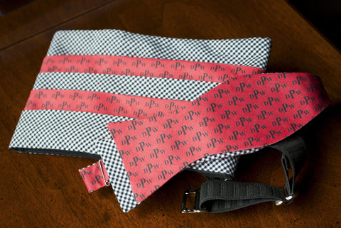 Red Monogram Bow Tie & Cummerbund Set