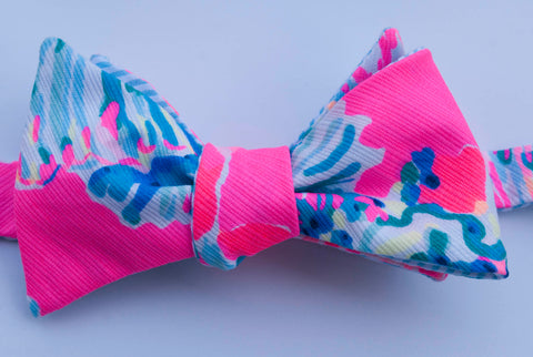 Designer Neon Pink with Dark Turquoise Fish