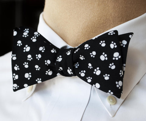 Black & White Paws Bow Tie - Youth