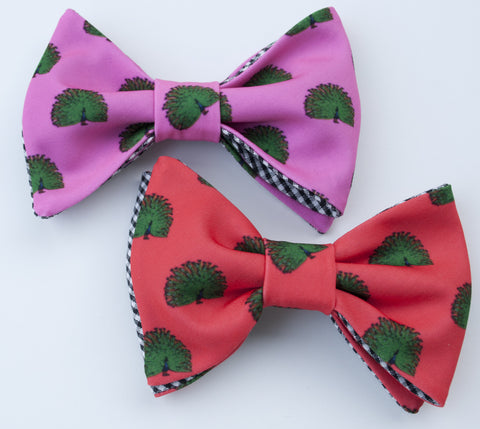 Peacock Bow Tie - dark coral