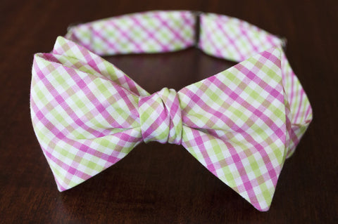 pink and green check bow tie