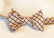 Purple and Gold Plaid Bow Tie