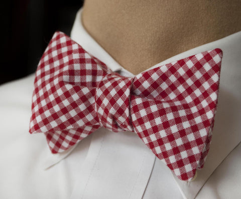 Check Bow Tie - red