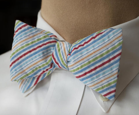 Multi colored seersucker bow tie