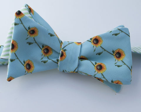 Sunflower Print Bow Tie