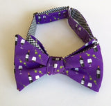 Wine Print Bow Tie - purple