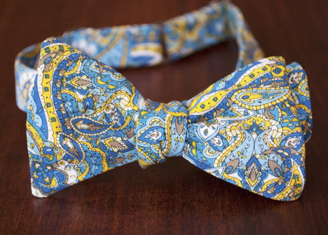 Blue and Yellow Paisley Bow Tie