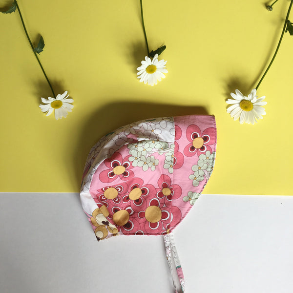 Floral Summer Reversible Baby Bonnet