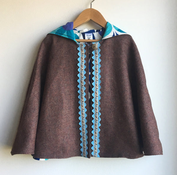 """Knock on Wood"" Hooded Wool Cape"
