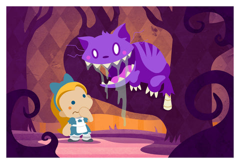 Alice and the Zombie Cheshire Cat (13x19)