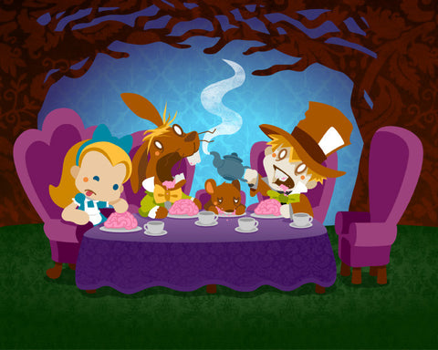 Alice and the Zombie Tea Party (8x10)