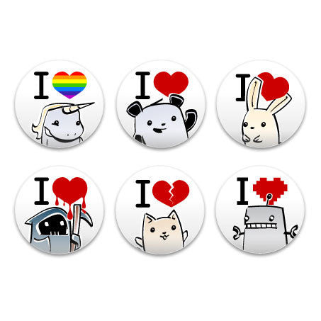 Pixipets I Heart Assorted Buttons (6pcs)