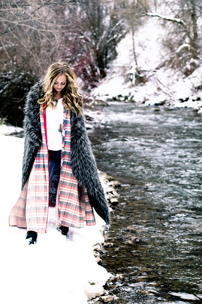 ILA Whispering Willow Plaid Duster Long Cardigan By River