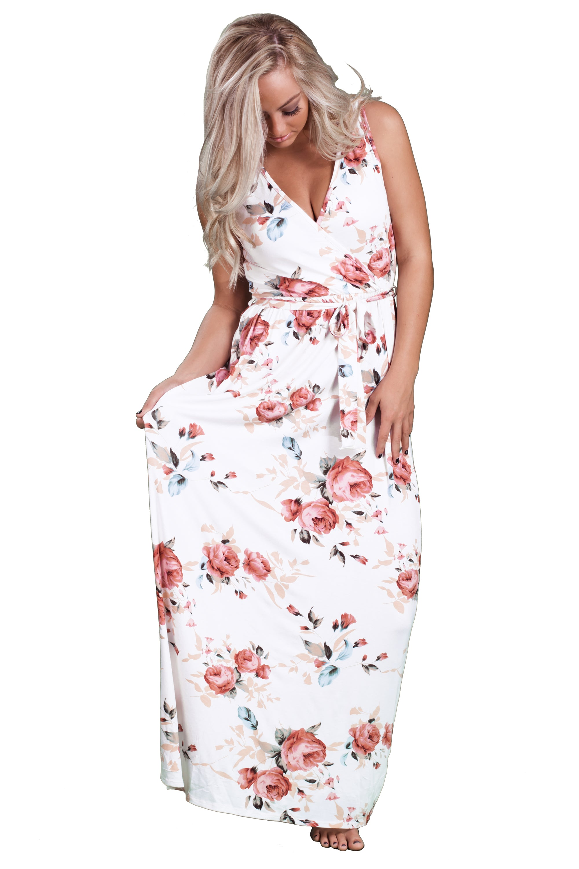 Womens floral print maxi dress summer dresses for women inspire sleeveless floral maxi dress inspire l amour mightylinksfo
