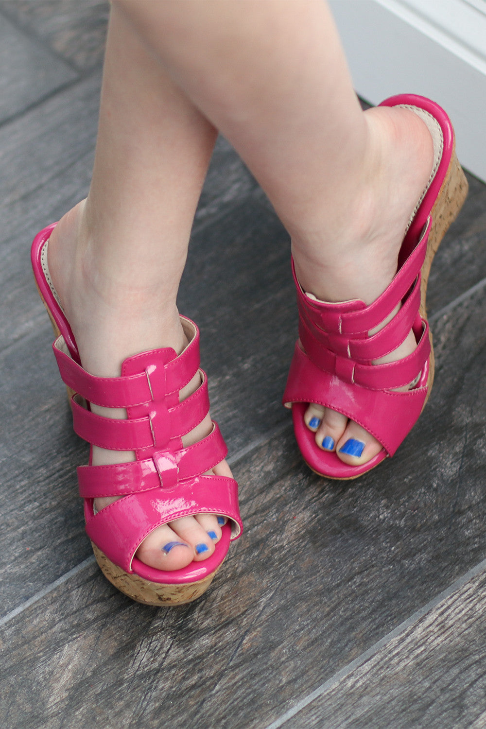 ecda4e345 ... Hot Pink Wedged Sandal - Inspire L  Amour ...