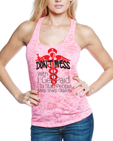 558108bf Don't mess with me, Nurse - Tank Top