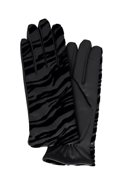 ICHI Zebra Leather Gloves