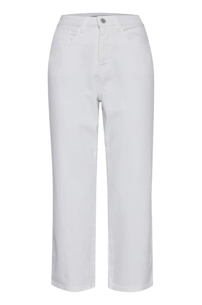 ICHI Gesto Cropped Mom Jean in White