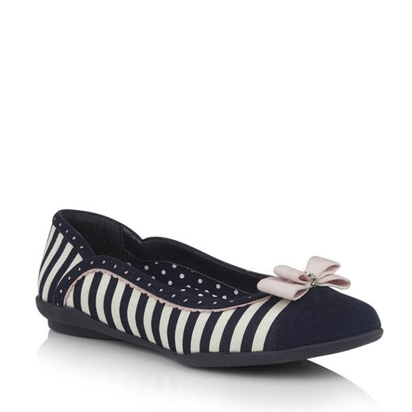 ruby lizzie flat navy stripe pink bow