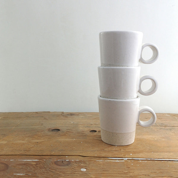 Atelier Trema Stackable Ceramic Mug in Grey or White
