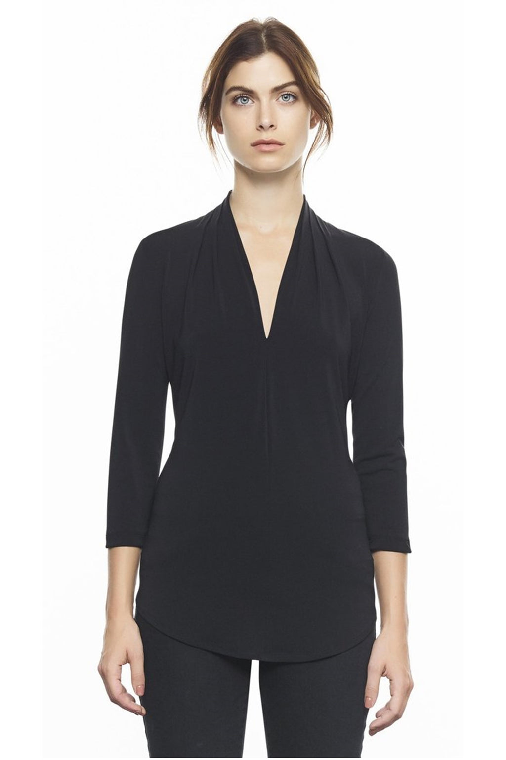 I by Iris Setlakwe Matte Jersey High Neck Pleated V Neck Top in Black
