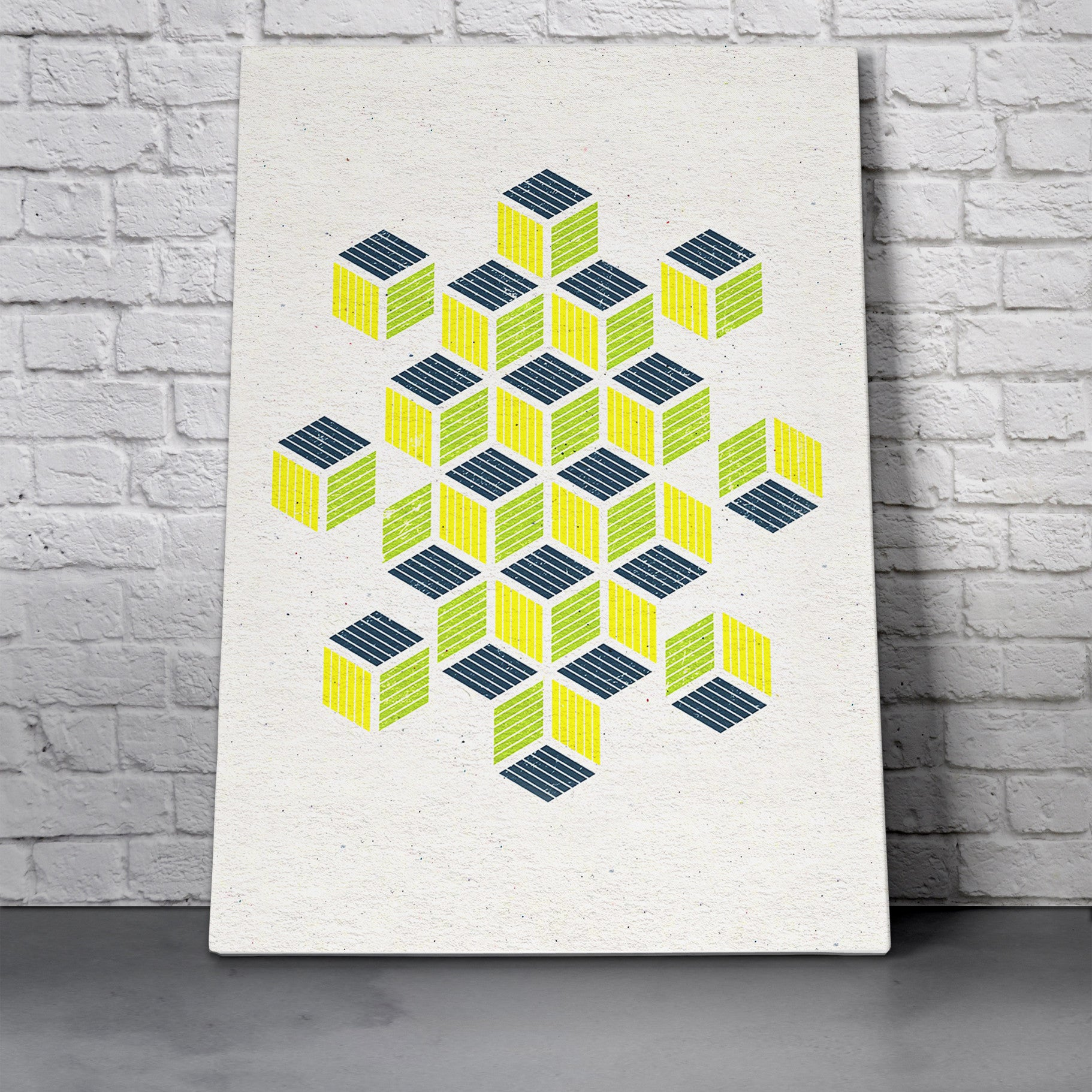 Canvas Wall Art Print - Yellow Navy Squares by RSKS Design - MNML Decor