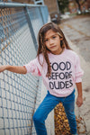 food before dudes | long sleeve | pink
