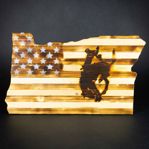 Pendleton Round-Up Wooden Oregon US Flag Sign