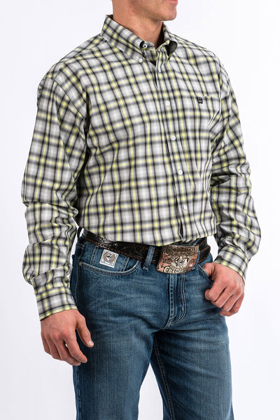 Men's Cinch Pendleton Round-Up Gray/Green Plaid Long Sleeve Button Up