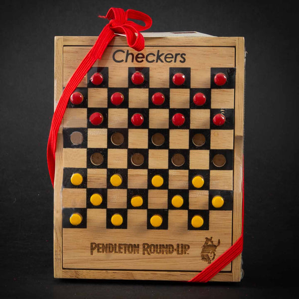 Pendleton Round-Up Teak Checkers Set