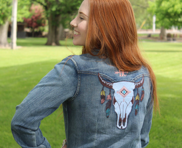 Ladies Happy Canyon Steer Head Denim Shirt