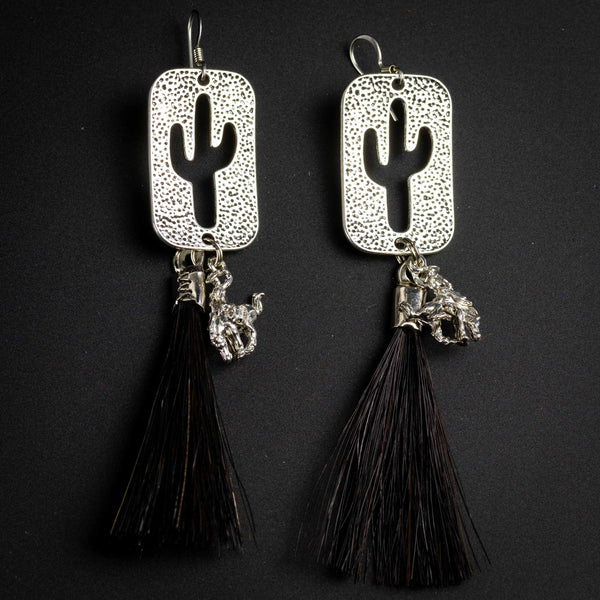 Pendleton Round-Up Horse Hair Cactus Earrings