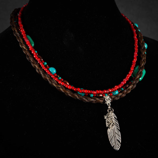 Pendleton Round-Up Horse Hair Feather Necklace