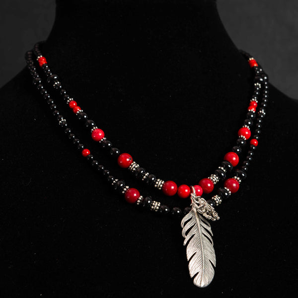 Pendleton Round-Up Coral and Onyx Feather Necklace