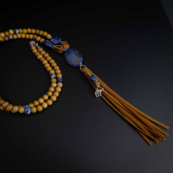 Pendleton Round-Up Sodalite and Wood Bead Tassel Necklace