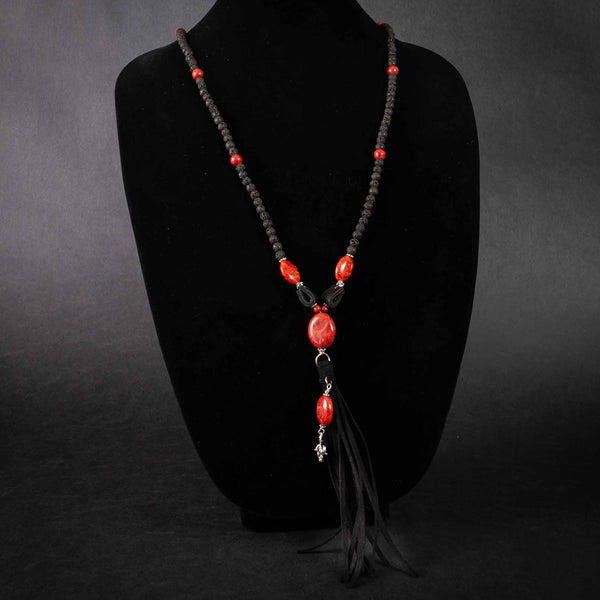 Pendleton Round-Up Coral and Lava Bead Tassel Necklace