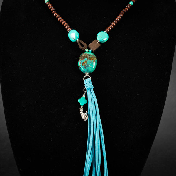 Pendleton Round-Up Turquoise and Wood Bead Tassel Necklace