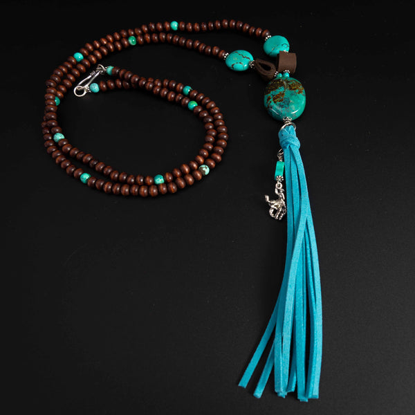 Pendleton Round-Up Turquoise Stone and Wood Bead Tassel Necklace