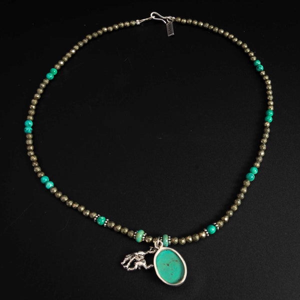 Pendleton Round-Up Pyrite and Turquoise Stone Necklace